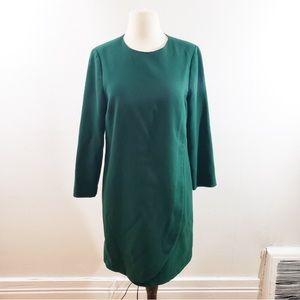 J. Crew | Green Overlapped long-sleeve shift dress